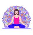 young woman meditates vector image vector image