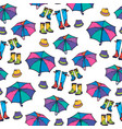 seamless pattern with umbrella hat and boots vector image