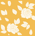 rose flowers leaves seamless pattern yellow orange vector image