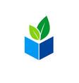 green leaf book organic knowledge logo vector image