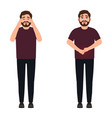 a man has a headache and stomach ache a sharp vector image