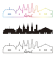 Aarhus skyline linear style with rainbow vector image vector image
