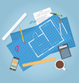 architecture blueprints vector image