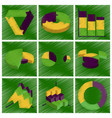 assembly flat shading style icons economic graphs vector image vector image