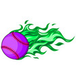 baseball with flames in white background vector image vector image