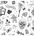 black and white seamless witchcraft pattern with vector image