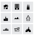 black buildings icons set vector image