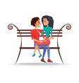 boy and girl sitting on wooden bench vector image vector image
