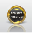 button web register glossy black gold vector image