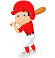 Cartoon boy playing baseball vector image
