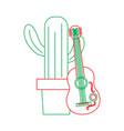 cartoon potted cactus with guitar celebration vector image vector image