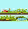 colorful agriculture horizontal banners vector image vector image