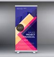 colorful standee roll up banner design template vector image