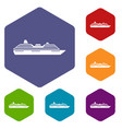 cruise ship icons set vector image