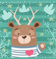 cute bear deer cartoon vector image