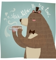 cute cartoon bear drinking tea vector image