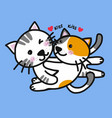 cute cats lover kissing cartoon vector image