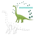 Educational game connect dots to draw dinosaur vector image