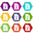 file mp3 icon set color hexahedron vector image vector image