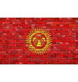 Flag of Kyrgyzstan on a brick wall vector image