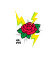 flower rose with slogan girl power t-shirt design vector image vector image