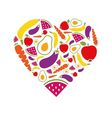 fruits and vegetables heart vector image vector image