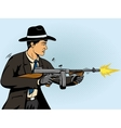 Gangster shoots machine gun pop art vector image vector image