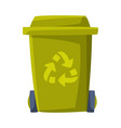 green recycle bin for trash and garbage vector image vector image