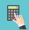 hand pushing calculator button vector image vector image