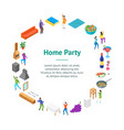 home party concept banner card circle isometric vector image vector image