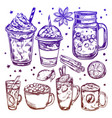 hot winter drinks icon set vector image vector image