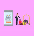 hotel banner with smartphone and doorman vector image vector image