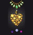 jewelry heart banner vertical cartoon style vector image vector image