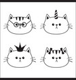 linear cat head face silhouette icon set contour vector image vector image