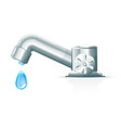 modern water tap with drop vector image vector image
