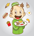 moslem kid with junk food and healthy food vector image