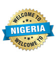 Nigeria 3d gold badge with blue ribbon vector image vector image