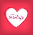 paper art of happy valentines day on red heart vector image vector image
