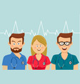portrait of medical team wearing colorful scrubs vector image vector image