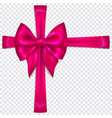 purple bow with crosswise ribbons vector image