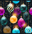 seamless pattern with vivid christmas balls vector image