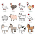 set of isolated caroon farm animals vector image vector image