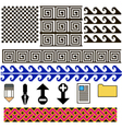 set of patterns and icons pixel art vector image vector image