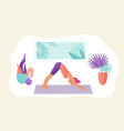 sportive young woman doin yoga vector image