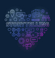 storytelling heart concept outline colored vector image vector image