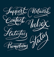 support and contact hand written typography vector image vector image