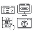 web domain icons set outline style vector image