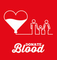 white heart family donate blood red background vector image