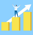 worker and rising graph business success vector image