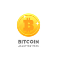 Bitcoin accepted here coin flat design vector image